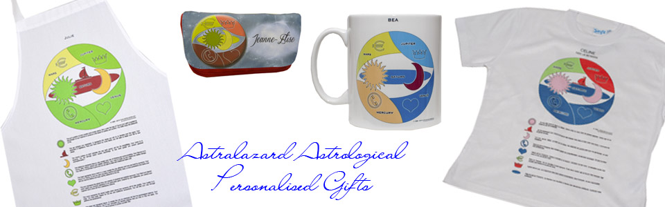Astralazard Astrological products birth chart added to T Shirts Aprons mugs etc