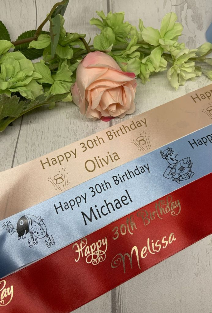 40th or 50th BIRTHDAY PERSONALISED RIBBON adult birthday cake flowers 45mm width