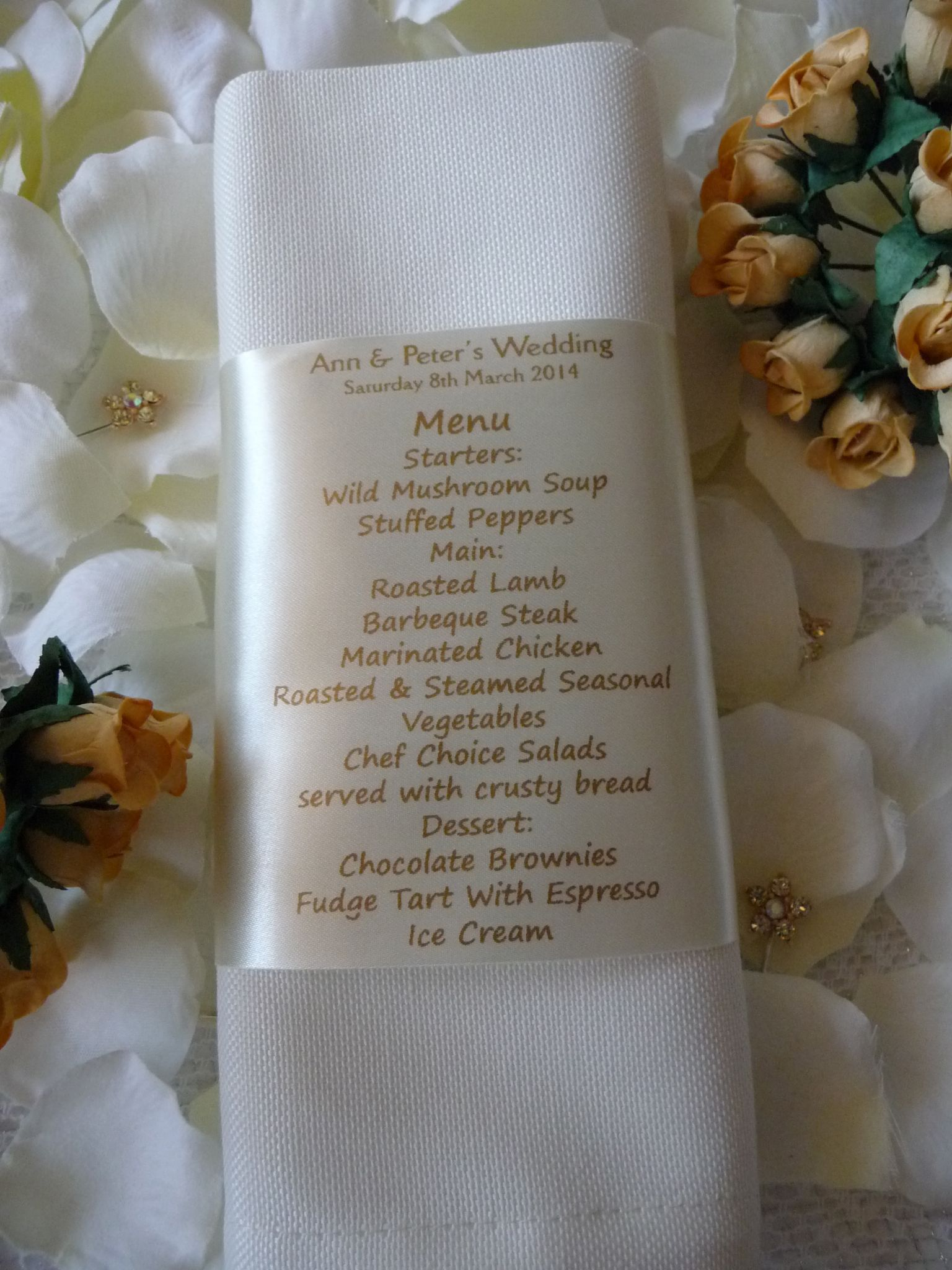 Personalised Wedding Napkin Ribbon With Menu And Place Setting For Guest Hot Graphix Signs