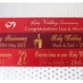 RUBY WEDDING ANNIVERSARY PERSONALISED RIBBON
