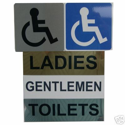 TOILET DOOR SIGNS, DISABLED, LADIES, GENTLEMEN - metal  | Hot Graphix & Signs